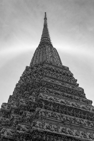 halo: Texture of Thai pagoda with sun halo in blackwhite Stock Photo