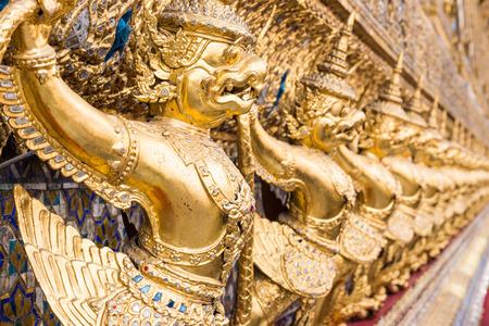 garuda: Row of golden garuda for decoration