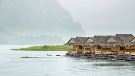 house float on water: Raft for traveler in rainy day