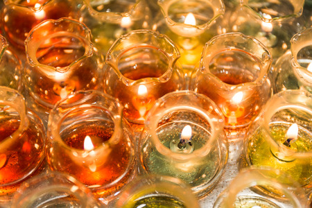Group of candle light in ball glass for relax and therapy