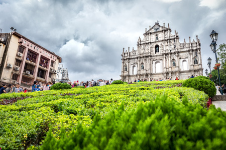 Santo Antonio, Macau - October 23, 2016 : Many traveller from around the world come to Macau to take a picture with Ruins of St. Pauls, the famous landmark, on the cloudy day.