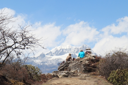 Scenic Dzongri at an altitude of 3900 meters on the national craft industry Geochala Trek to Kanchenjunga  Stock Photo