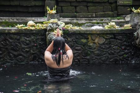 Holy water Pura Hindu in Bali Indonesia