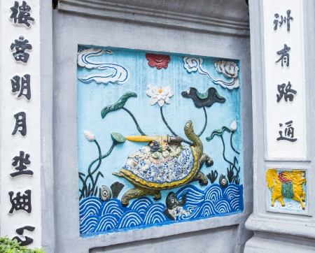 viet nam: wall of chinese temple in Viet Nam