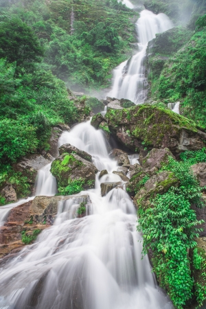 silver waterfall in Sapa Vietnam photo