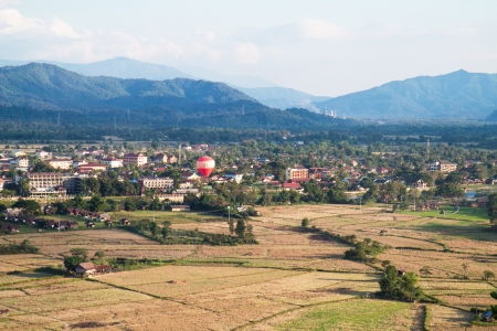 Balloon view of Vang Vieng photo