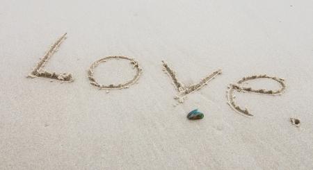 Love    wording on beach photo