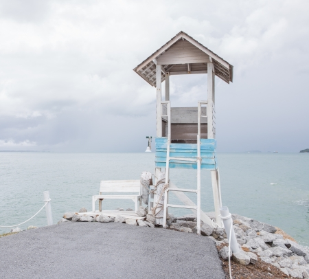 Life Guard Tower on beach photo