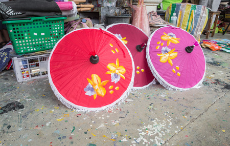 Colorful handmade umbrellas Bo Sang village at Chiangmai province,Thailand. photo