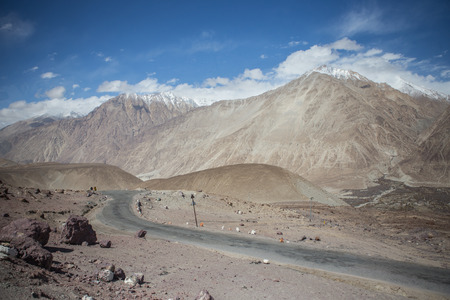Highway road on mountain hightest 2rd  in the world ranking in Leh City of India photo