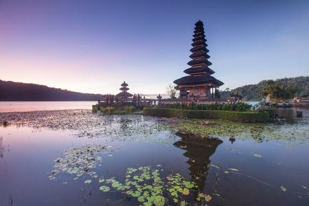 Pura Ulun Danu Hindu temple at morning with sunset  in Bali Indonesia