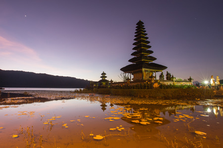 gr: Pura Ulun Danu Hindu temple at morning with sunset  in Bali Indonesia