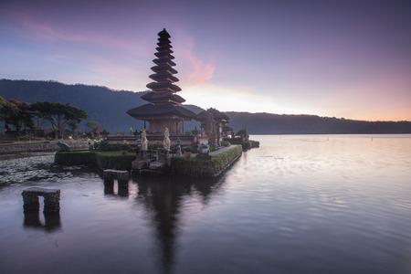bratan: Pura Ulun Danu Hindu temple at morning with sunset  in Bali Indonesia