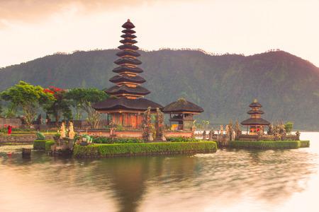 ulun: Pura Ulun Danu Hindu temple at morning with sunset  in Bali Indonesia