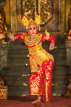 UBUD, BALI, INDONESIA - May, 31: Legong traditional Balinese dance in Ubud, Bali, Indonesia on May, 31, 2014