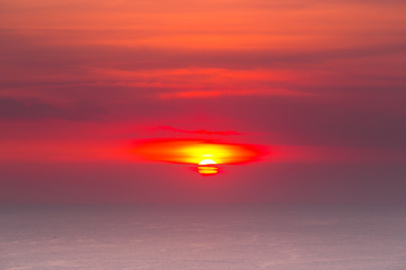 gr: Beautiful sunset above the sea Stock Photo