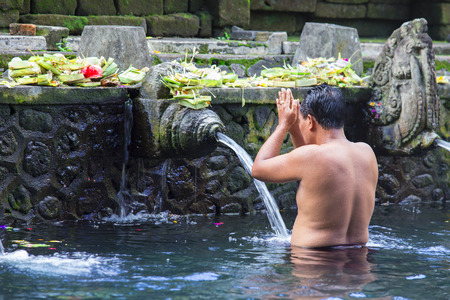 Holy Spring Water Tirta Empul Hindu Temple , Bali Indonesia