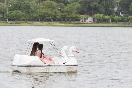 Girls in a Duck boat in Garden public park