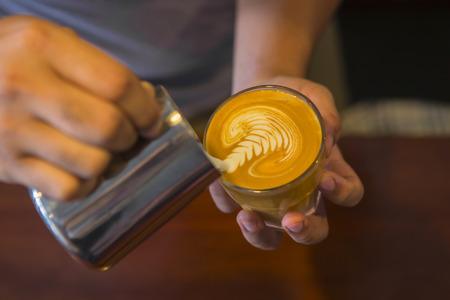 Latte art coffee by a Barista Archivio Fotografico