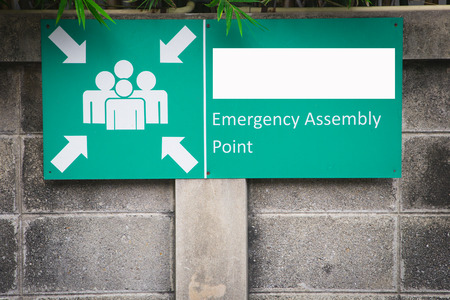 assembly point: assembly point sign