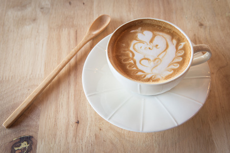 tabel: Coffee with wood spoon on tabel Stock Photo