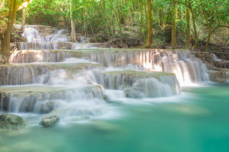 jungle gym: Thailand heaven waterfall in Kanjanaburi (Huay Mae Kamin) Stock Photo