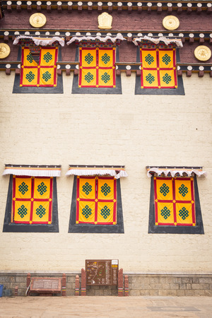 lamaism: Windows  Tibaetan style  of Monastery Editorial