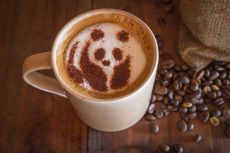 cappucino: Coffee cappucino panda bear  with coffee bean