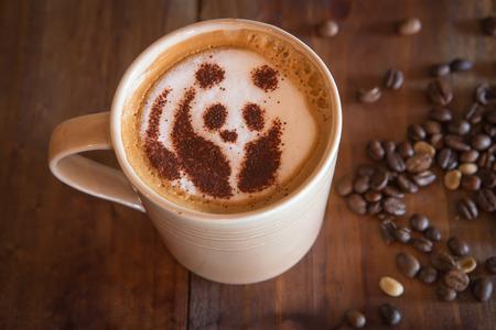 cappucino: Coffee cappucino with panda bear