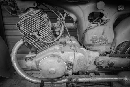 cylinder block: The lod motorcycle engine block , black and white tone