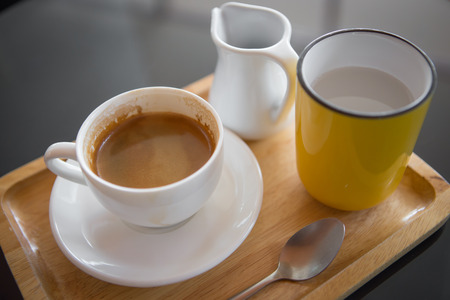 water grass: a cup of espresso with water grass and spoon