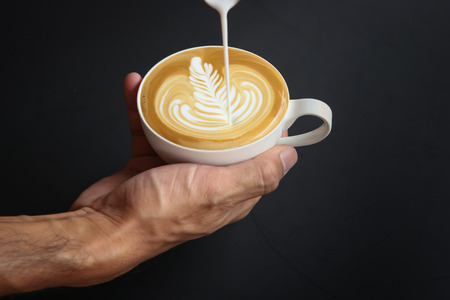 making coffee with latte art Stock Photo