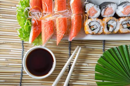 sushi set: Sushi set on bamboo table