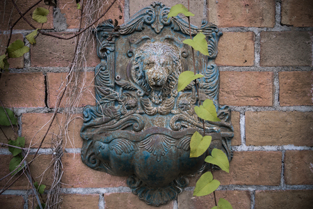 wall decoration: Lion head decoration wall retro style Stock Photo