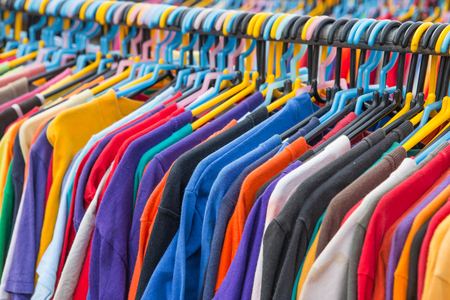 hang body: Selective focus of Colorful T-Shirt Stock Photo