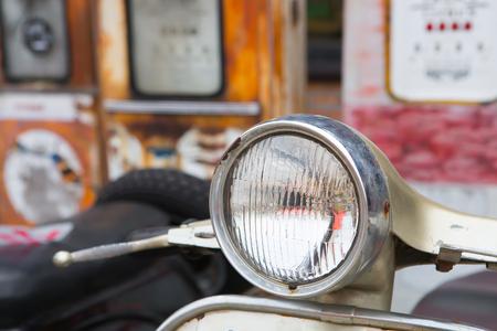 headlight: Headlight of vintage motorcycle Stock Photo