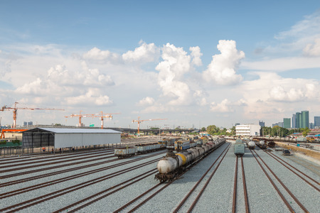railroad transportation: Railroad transportation  tank cars with oil