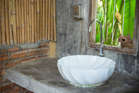 lavabo: Bathroom in nature decoration Stock Photo