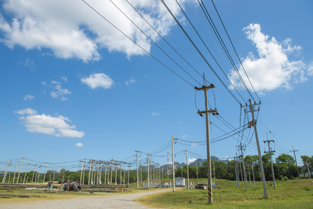 conductor electricity: Electric power substation, high-voltage support. Stock Photo