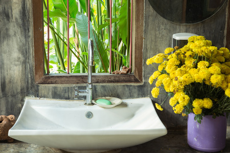 Sink on cement  loft design and nature