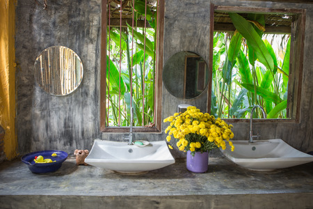 lavabo: Sink on cement table loft design and nature Stock Photo