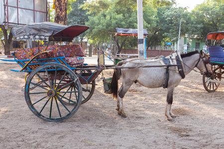 horse cart: Horse cart in Bagan, Myanmar