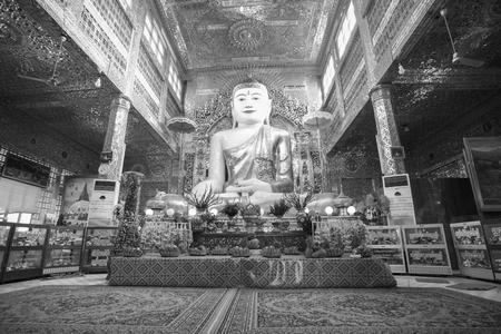 Mandalay , MYANMAR - Dec 9 : The main Buddha of Sagaing hill . Sagaing hill is famous temple many Burmese visit on Dec 9, 2015 . Mandalay ,Myanmar(Burmar)