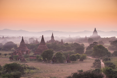 Pagoda landscape in the plain of Bagan, Myanmar (Burma) Stock Photo