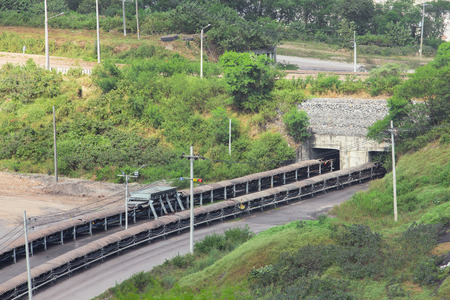 subsequent: coal transportation for subsequent processing Stock Photo