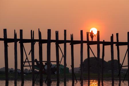 longest: Sunset at Ubeng bridge,The longest wooden bridge in Mandalay,Myanmar