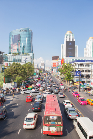 standstill: Bangkok , Thailand - January 31,2016 ;Traffic jam of center point in Bangkok in front of  World Trade Center Complex , This is center point of traveler around the world. Editorial
