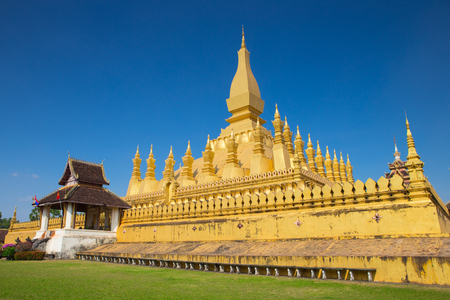 buddhist stupa: Pha That Luang  large Buddhist stupa in the centre of Vientiane, Laos. l Stock Photo