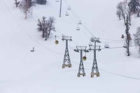 kashmir: Cable car at snow mountain in Gulmark in Kashmir, India