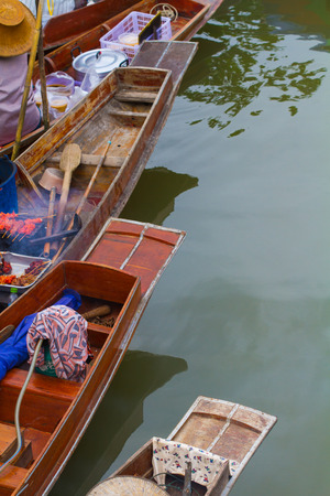 saduak: The line of head boat on floating market in Thailand